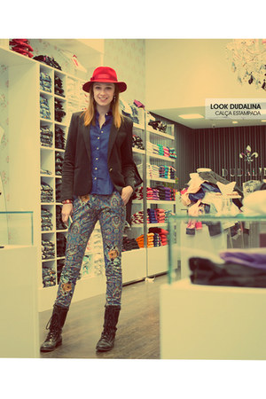 black Cravo & Canela boots - ruby red Pralana hat - blue Dudalina pants