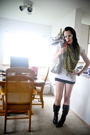yellow scarf - silver Candies purse - black Ross top - white Wet Seal t-shirt