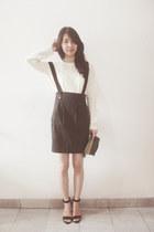 black Zara skirt - dark green Forever21 hat - white H&M sweater