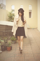 black Stradivarius skirt - dark brown rubi shoes - beige Lily coat