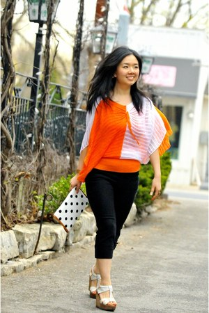 carrot orange no brand blouse - black Nichii pants
