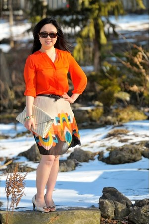 carrot orange H&M blouse - clutch Aldo bag - pleated Forever 21 skirt