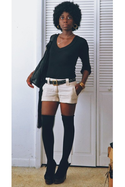 black Label shoes - black American Apparel leggings - beige vintage shorts