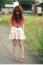 orange Urban Outfitters top - white free people skirt - orange modcloth shoes