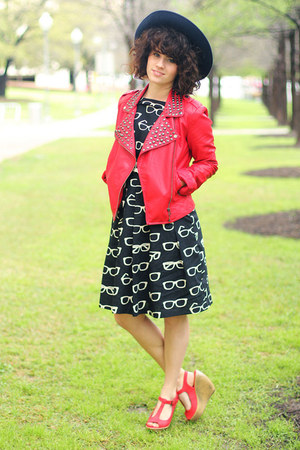 Forever 21 jacket - modcloth dress - thrifted hat - Blowfish wedges