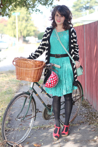 black modcloth cardigan - turquoise blue Lulus dress - ruby red Nutcase hat