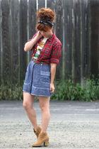 beige modcloth t-shirt - brown kensiegirl boots - red thrifted top