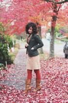 brown modcloth boots - army green modcloth blazer - burnt orange Target tights