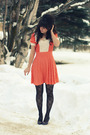 Orange-vintage-dress-black-wet-seal-tights-purple-vintage-shoes
