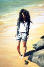 Silver-forever-21-shorts-black-pac-sun-shirt-white-diy-top
