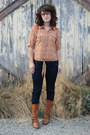 Brown-modcloth-boots-navy-marshalls-jeans-orange-marshalls-top