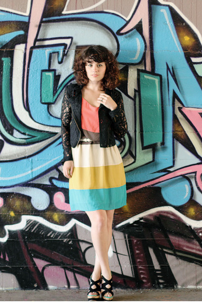 Lulus dress - Lulus jacket - Lulus wedges