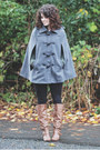 Brown-blowfish-boots-army-green-modcloth-blazer-gray-ruche-cape