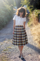 dark brown vintage skirt - white modcloth dress - aquamarine seychelles heels