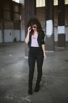 light pink vintage top - black modcloth jeans - black Lulus jacket