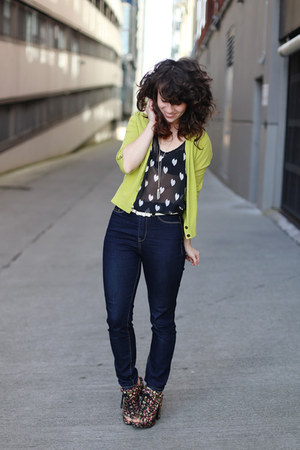 black modcloth top - navy modcloth jeans - chartreuse similar Gap cardigan