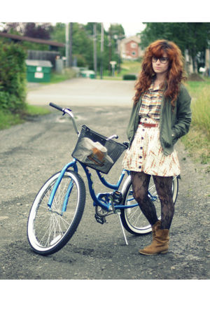 green Empyre jacket - yellow vintage top - white free people skirt - brown Targe