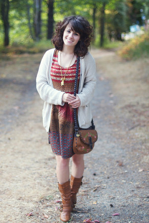 brown modcloth boots - burnt orange Marshalls dress - brown Marshalls purse
