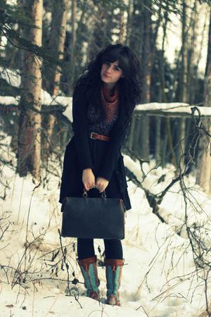 black Target cardigan - red vintage scarf - blue Cosette dress - black vintage p