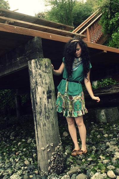 green Nordstrom sweater - brown Minnetonka shoes - green thrift dress