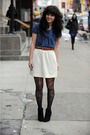 Blue-forever-21-dress-white-thrifted-skirt-black-payless-shoes