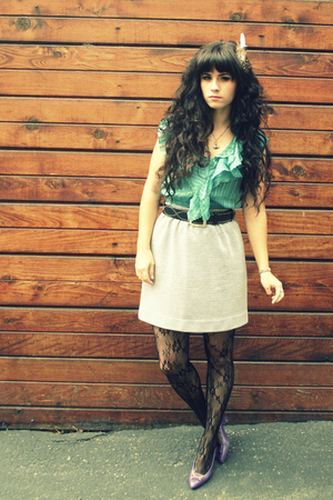 Forever21 top - thrift skirt - Brighton belt - thift shoes - Fred Meyer tights