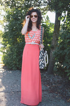 salmon modcloth skirt - salmon Ever Mi Crush dress - gray ikat Hearts bag