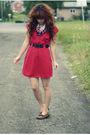 Red-nanette-lepore-dress-brown-minnetonka-shoes