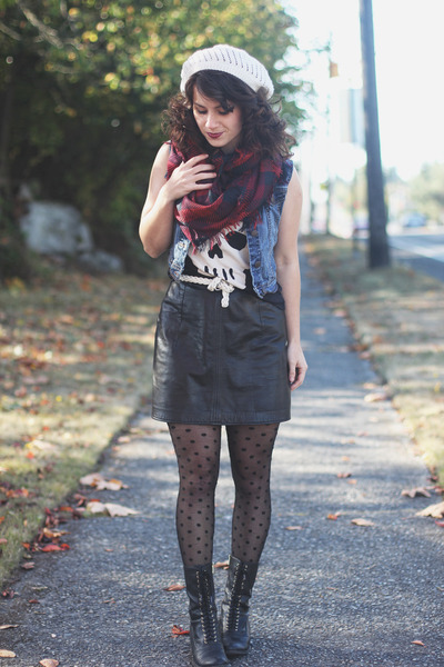 black Target boots - black modcloth tights - crimson H&M scarf
