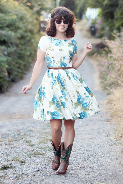 white modcloth dress - brown Lulus boots - hot pink vintage sunglasses