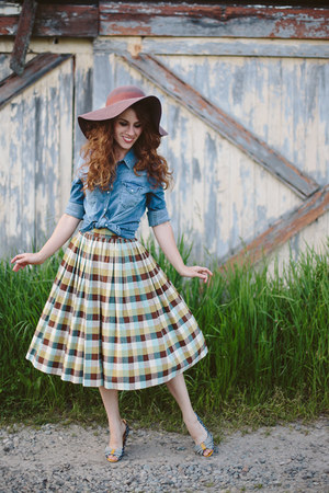 vintage skirt - Lulus hat - similar thrifted top - similar Seychelles heels
