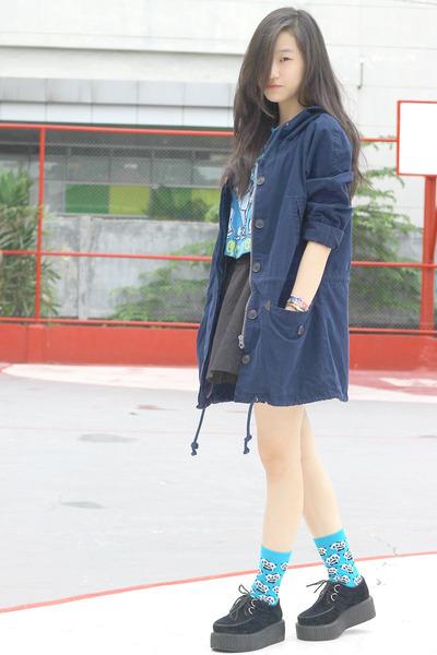 parka Mango jacket - creepers Sheinside shoes - panda Topshop socks