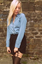 sky blue Topshop shirt - black Topshop tights - black Topshop skirt