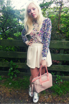 white River Island shirt - beige Topshop bag - white asos skirt