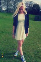 white asos dress - black Blazer blazer - blue Converse sneakers