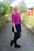 navy Topshop dress - hot pink Topshop jumper - mustard Topshop necklace