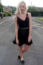 black Topshop dress - black Topshop flats