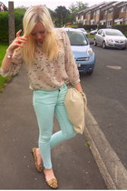 light blue Topshop jeans - off white River Island blouse - mustard Topshop flats