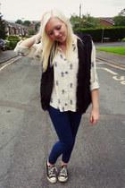 cream asos shirt - navy Zara jeans - black Topshop vest