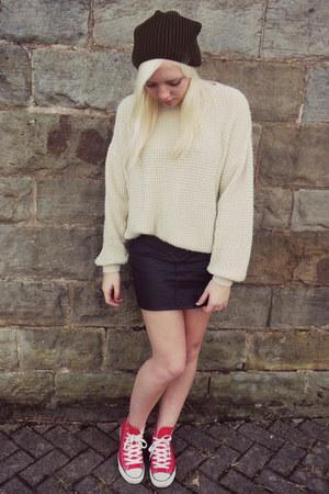 asos hat - Zara skirt - Topshop jumper - Converse sneakers