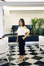 White-sabrina-blouse-black-cullotes-pants-ivory-strappy-heels