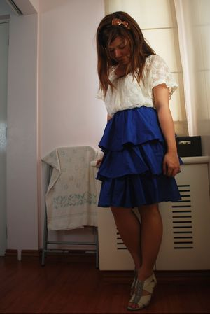 white Bayo blouse - blue Cocobelle skirt - brown Bayo accessories - white shoes