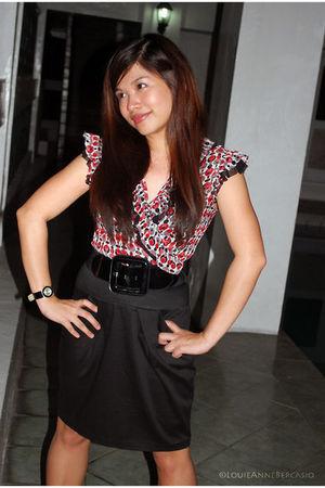 red Mosaic blouse - black Dorothy Perkins belt - black Dorothy Perkins skirt - b