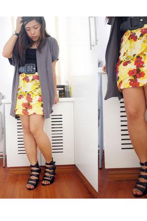 gray cardigan - black basic top - yellow Poisonberry skirt - black shubizz shoes