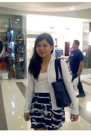 white giordano sweater - white Topshop top - black Topshop skirt - black Lacoste
