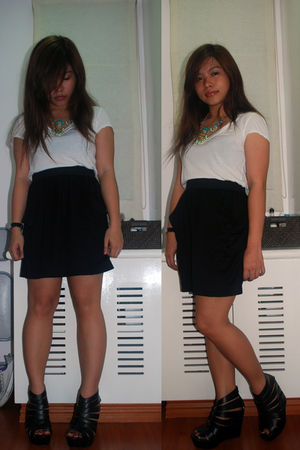 white shirt - black Mango skirt - black Virtual Mae shoes - blue Aldo accessorie