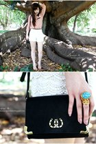 neutral Shubar shoes - black asos bag - ivory cream lace Ebay shorts