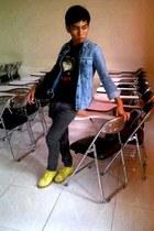 no brand jacket - League shoes - Levis jeans - celcius bag
