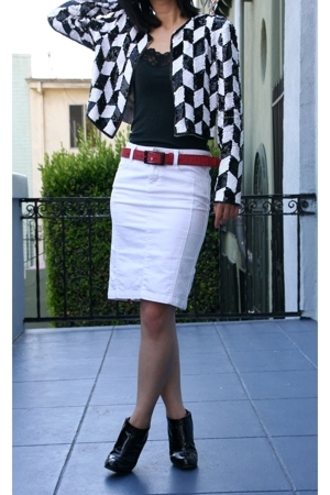 vintage jacket - Banana Republi top - Diesel belt - Armani Exchange skirt - Miu