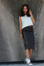 White-leather-zara-top-dark-brown-leather-skirts-zara-skirt